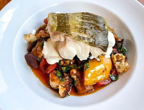 Roast cod with citrus beurre blanc and winter ratatouille
